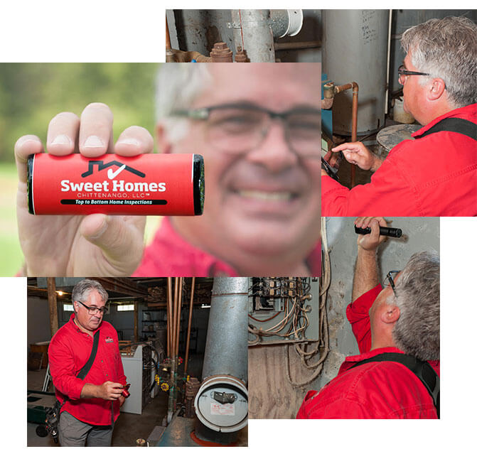 A collage with three images of the owner working